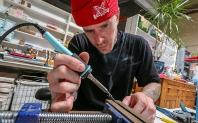 Justin Bennee learning to solder at The OC Recording School!
