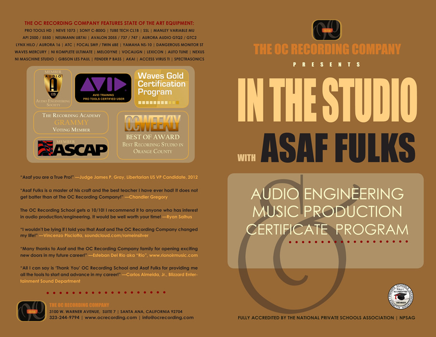 Audio School Orange County OC Recording Music Production and Engineering